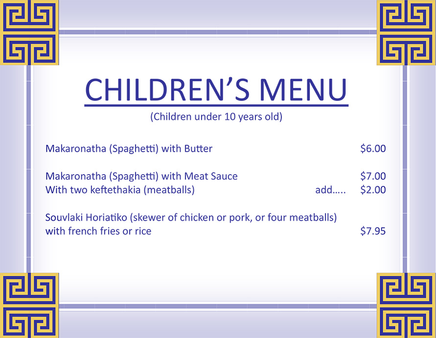 2015 Childrens Menu